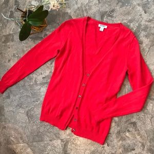 Bright red sweater cardigan